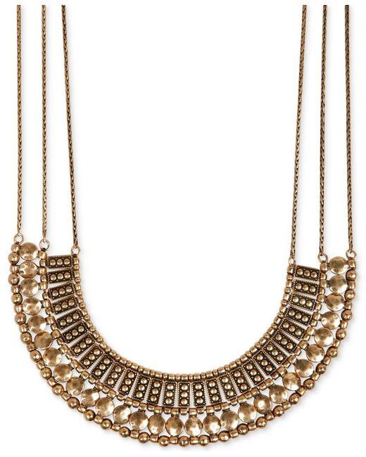 Lucky Brand | Metallic Goldtone Textured Bead Collar Necklace | Lyst