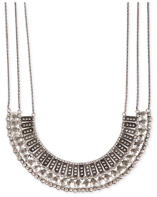 Lucky Brand | Metallic Silvertone Textured Bead Collar Necklace | Lyst
