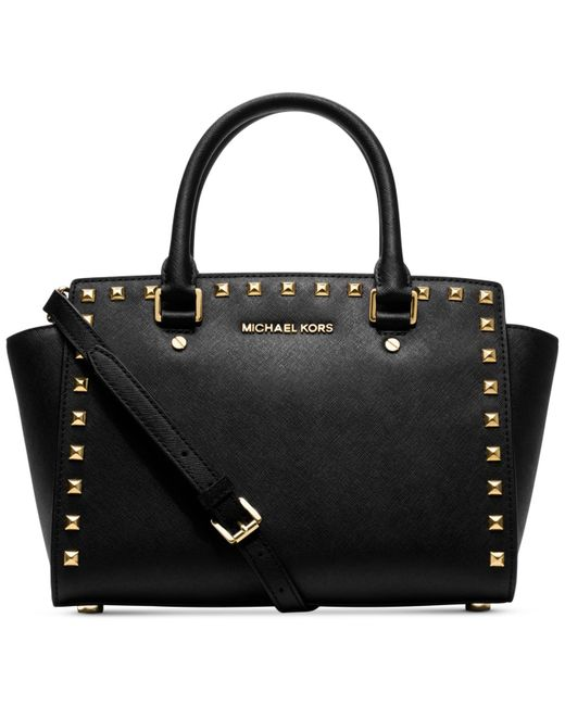 Michael Kors | Black Michael Selma Stud Medium Top Zip Satchel | Lyst