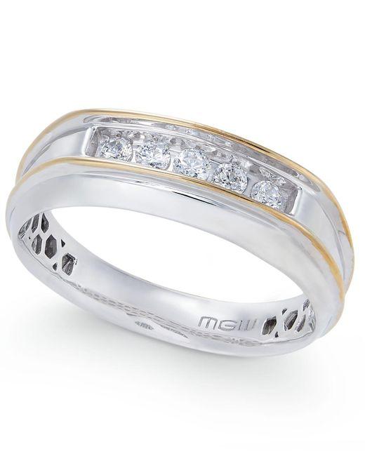 Macy's | Metallic Men's Diamond Two-tone Five-stone Ring (1/4 Ct. T.w.) In 10k Gold & White Gold | Lyst