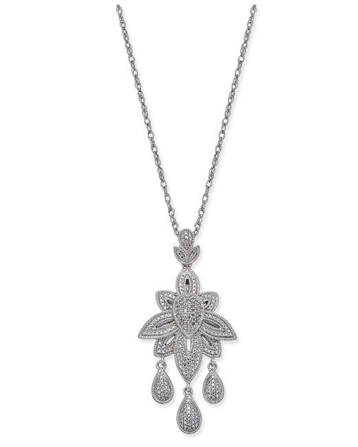 Macy's - Metallic Diamond Dangle Pendant Necklace (1/10 Ct. T.w.) In Sterling Silver - Lyst