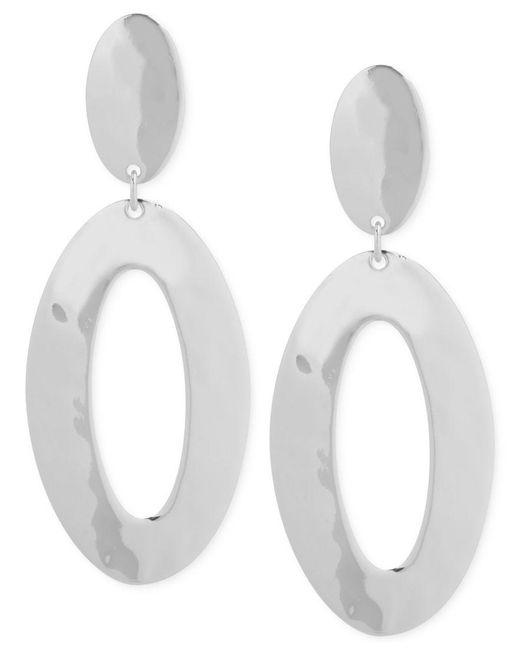 Robert Lee Morris   Metallic Silver-tone Oval Double Drop Earrings   Lyst