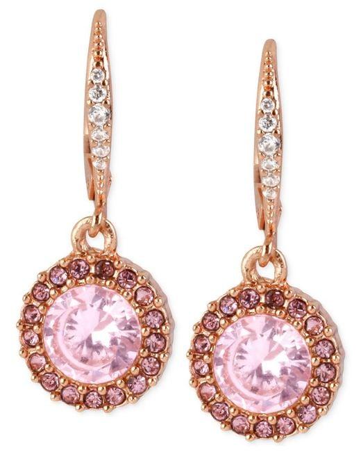 Betsey Johnson | Pink Sparkle Mesh Hoop Earrings | Lyst