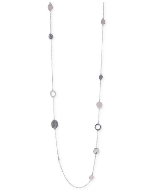 Kenneth Cole   Metallic Silver-tone Mixed Circle Bead Illusion Necklace   Lyst