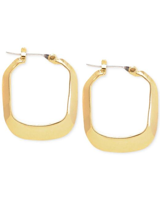 Kenneth Cole   Metallic Gold-tone Rectangle Hoop Earrings   Lyst