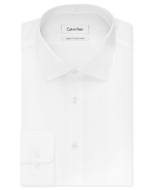 Calvin Klein | White Men's Steel Slim-fit Non-iron Stretch Performance Unsolid Dress Shirt for Men | Lyst