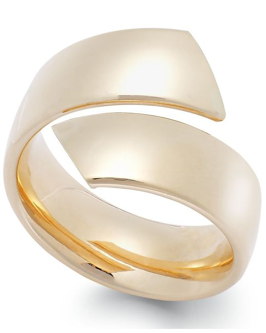 Macy's | Metallic Hollow Bypass Ring In 14k Gold, Made In Italy | Lyst