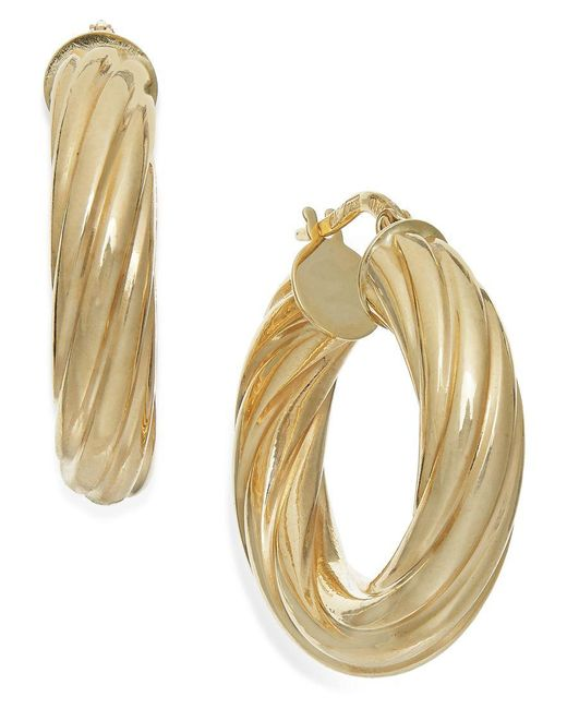 Macy's | Metallic Twist Hoop Earrings In 14k Gold, Made In Italy | Lyst