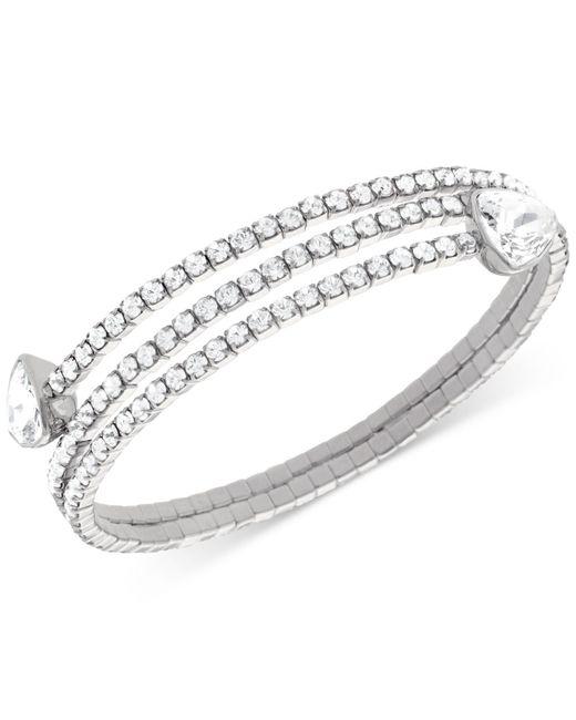 Swarovski   Metallic Twisty Silver-tone Crystal Triangle Bangle Bracelet   Lyst