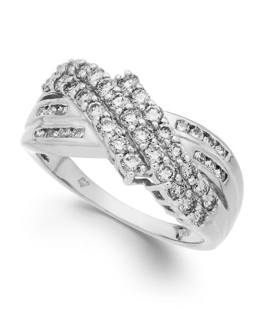 Macy's | Diamond Three-row Ring In 14k Yellow Or White Gold (1 Ct. T.w.) | Lyst