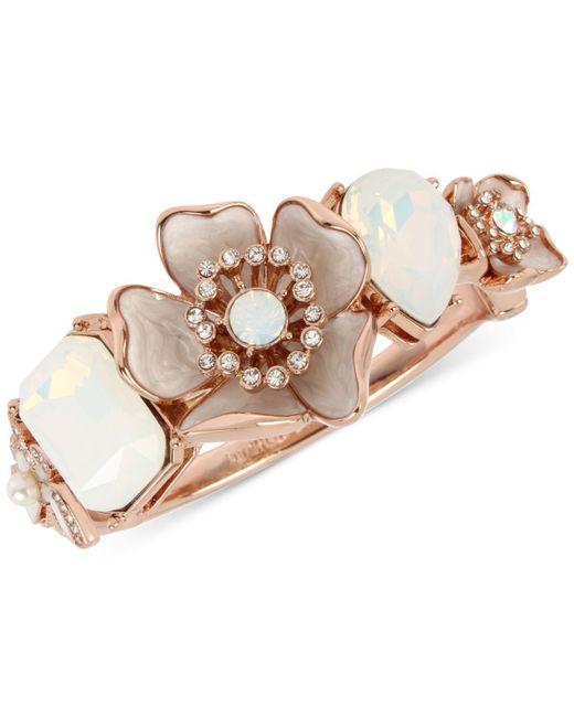 Betsey Johnson - White Rose Gold-tone Crystal & Stone Flower Bangle Bracelet - Lyst