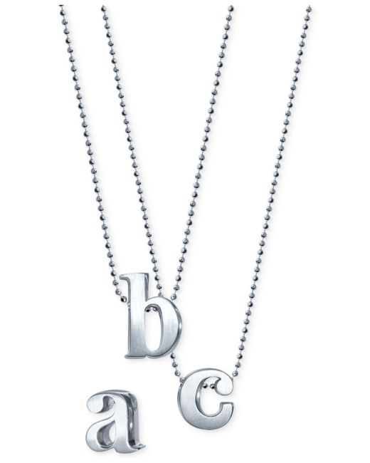 Alex Woo | Metallic Little Letter By Initial Pendant Necklace In Sterling Silver | Lyst