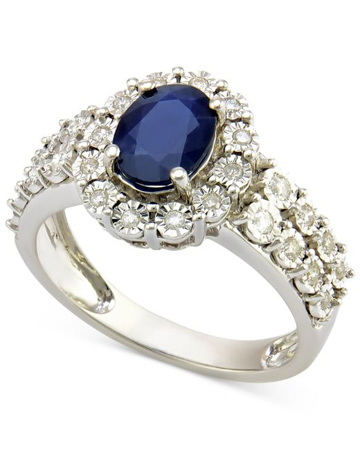 Macy's | Sapphire (1-1/4 Ct. T.w.) And Diamond (1/4 Ct. T.w.) Ring In 14k White Gold | Lyst