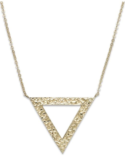 Macy's | Metallic Reversible Triangle Pendant Necklace In 14k Gold | Lyst