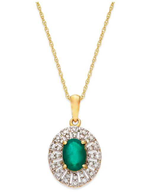 Macy's   Green Emerald (9/10 Ct. T.w.) And Diamond (1/8 Ct. T.w.) Pendant Necklace In 14k Gold   Lyst