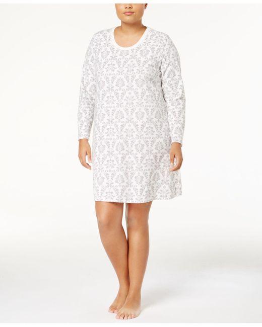 Charter Club - White Plus Size Thermal Fleece Sleepshirt - Lyst