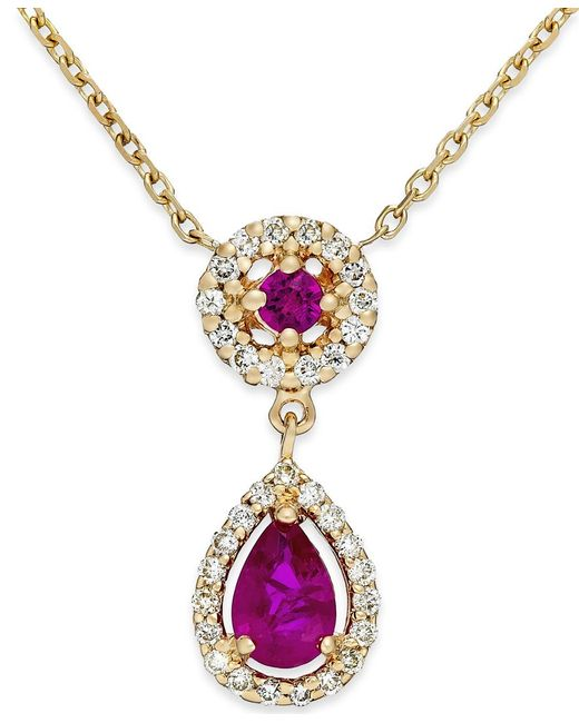 Macy's | Metallic Ruby (5/8 Ct. T.w.) And Diamond (1/5 Ct. T.w.) Pendant Necklace In 14k Gold | Lyst