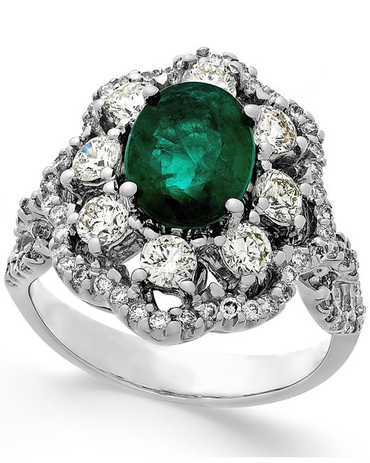 Macy's | Metallic Emerald (1-3/4 Ct. T.w.) And Diamond (1-1/5 Ct. T.w.) Ring In 14k White Gold | Lyst