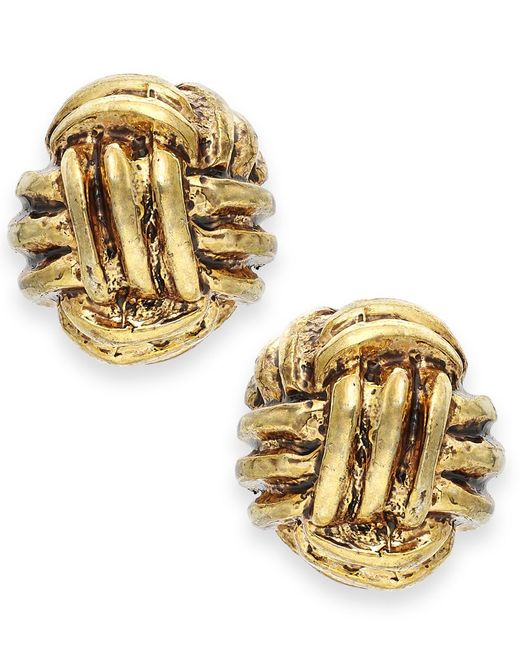 Lauren by Ralph Lauren | Metallic Gold-tone Monkey Fist Knot Stud Earrings | Lyst