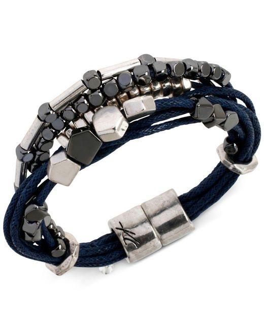 Kenneth Cole | Blue Two-tone Multi-row Cord Bracelet for Men | Lyst