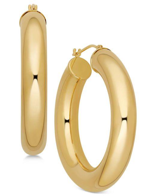 Macy's | Metallic Polished Chunky Tube Hoop Earrings In 14k Gold | Lyst