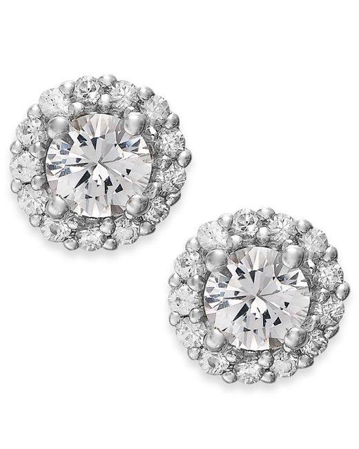 Macy's | Metallic White Sapphire Halo Stud Earrings In 14k White Gold (3/4 Ct. T.w.) | Lyst