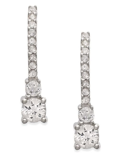 Macy's | Metallic White Sapphire Drop Earrings In 14k White Gold (1 Ct. T.w.) | Lyst