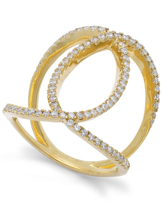 Macy's | Metallic Diamond Interlocking Ring In 14k Gold (1/2 Ct. T.w.) | Lyst