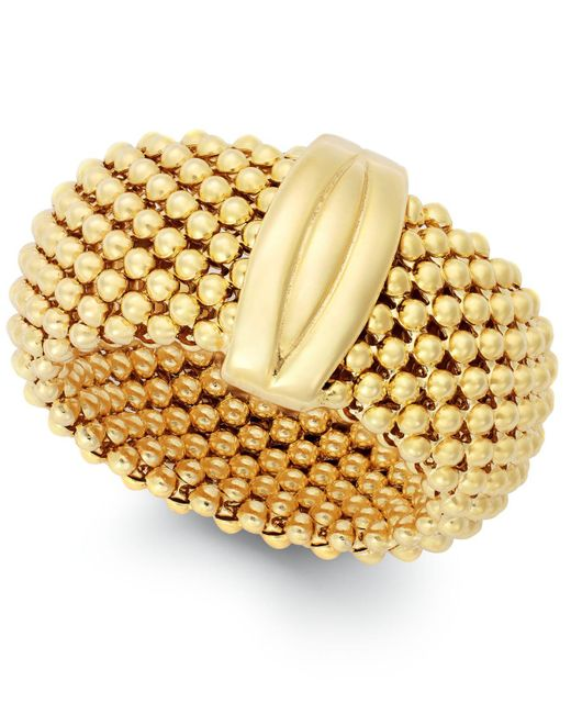 Macy's | Metallic Mesh Ring In 14k Gold Vermeil Over Sterling Silver And Sterling Silver | Lyst