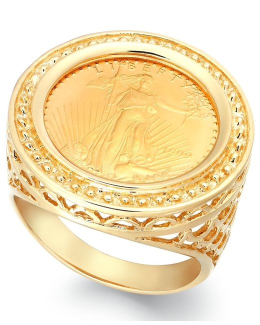 Macy's | Metallic Genuine Us Eagle Coin Ring In 22k And 14k Gold | Lyst