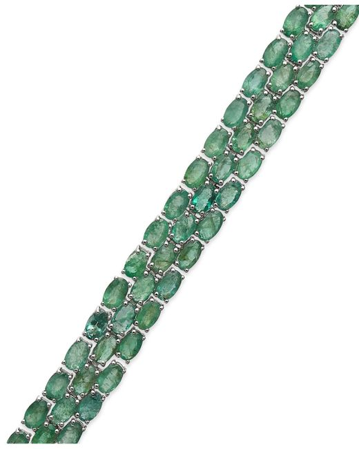 Macy's | Green Emerald Three-row Bracelet In Sterling Silver (25 Ct. T.w.) | Lyst