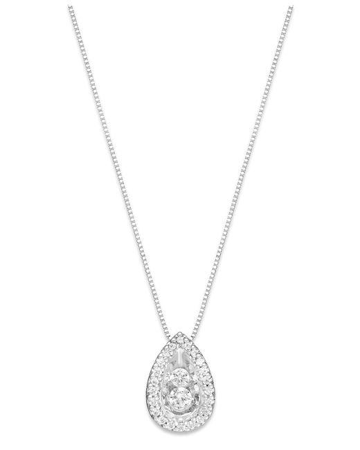Macy's | Diamond Teardrop Pendant Necklace In 14k White Gold (1/4 Ct. T.w.) | Lyst