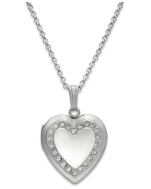 Macy's | Metallic Crystal Heart Locket Necklace In Sterling Silver | Lyst