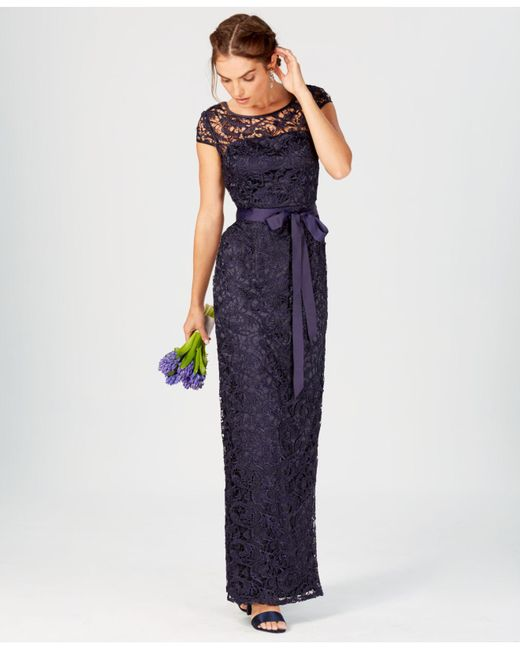Lyst - Adrianna Papell Cap-sleeve Illusion Lace Gown in Blue