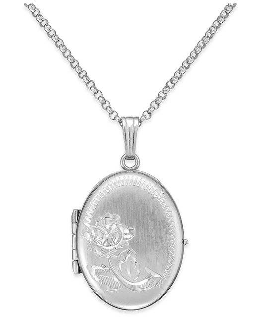 Macy's | Metallic Embossed Four-picture Oval Locket In Sterling Silver | Lyst