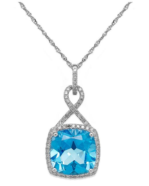 Macy's | Blue Topaz (6 Ct. T.w.) And Diamond (1/5 Ct. T.w.) Pendant Necklace In 14k White Gold | Lyst