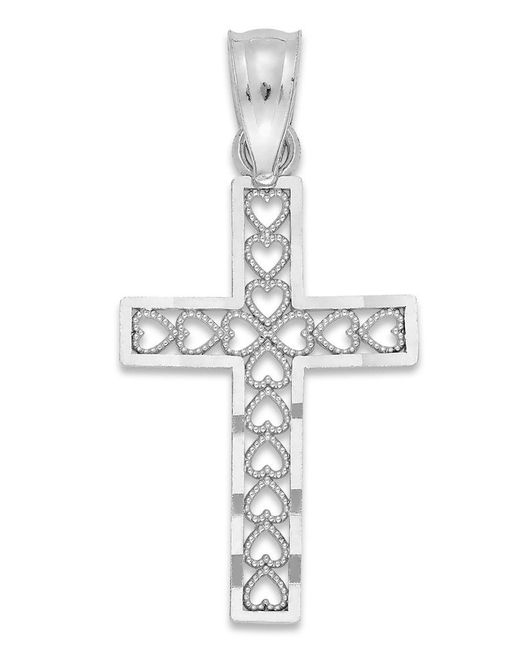 Macy's | Cross Charm In 14k White Gold | Lyst
