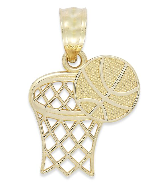Macy's | Metallic Basketball And Hoop Charm In 14k Gold | Lyst
