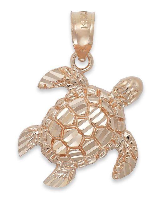 Macy's | Pink Diamond-cut Turtle Charm In 14k Rose Gold | Lyst