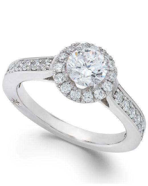 Marchesa | Estate Halo By Certified Diamond Engagement Ring In 18k White Gold (1-1/4 Ct. T.w.) | Lyst