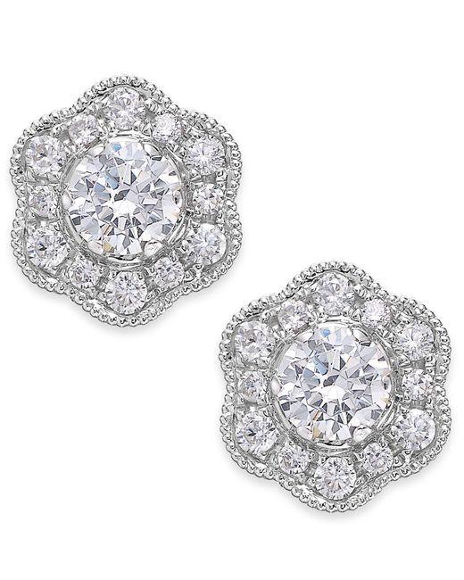 Marchesa | Metallic Fleur By Certified Diamond Flower Stud Earrings In 14k White Gold (1/2 Ct. T.w.) | Lyst