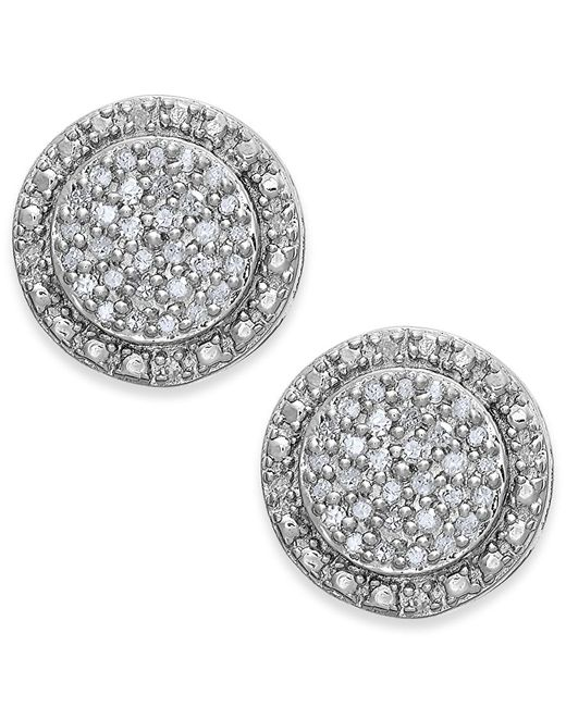 Macy's | Metallic Diamond Pave Stud Earrings In Sterling Silver (1/5 Ct. T.w.) | Lyst