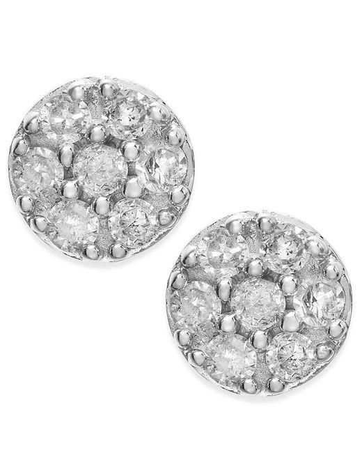 Macy's | Metallic Diamond Cluster Stud Earrings In 10k White Gold (1/4 Ct. T.w.) | Lyst