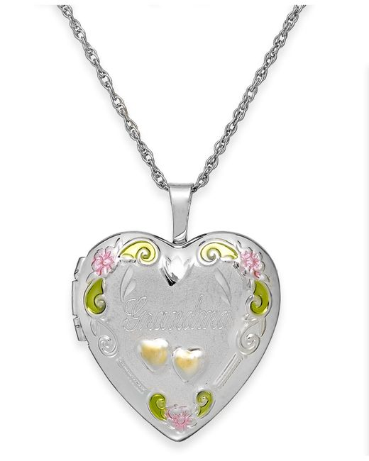Macy's | Metallic Grandma Painted Heart Locket In Sterling Silver | Lyst