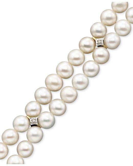 Macy's   Metallic 14k Gold Cultured Freshwater Pearl (5mm) & Diamond Accent Bracelet   Lyst
