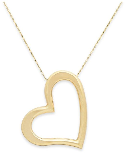 Macy's | Yellow Angled Heart Pendant Necklace In 14k Gold | Lyst