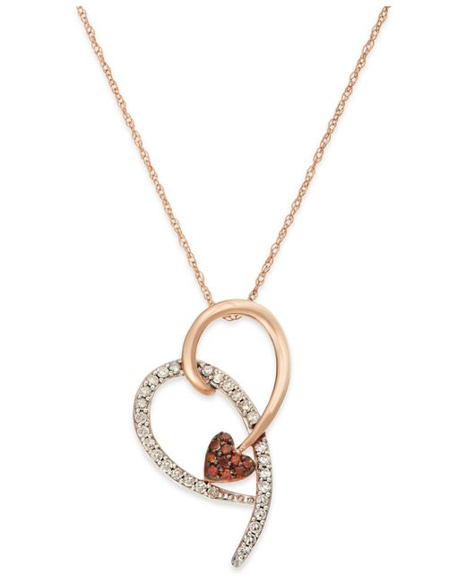 Macy's | Metallic Diamond (1/4 Ct. T.w.) And Red Diamond Accent Heart Pendant In 10k Pink Gold | Lyst