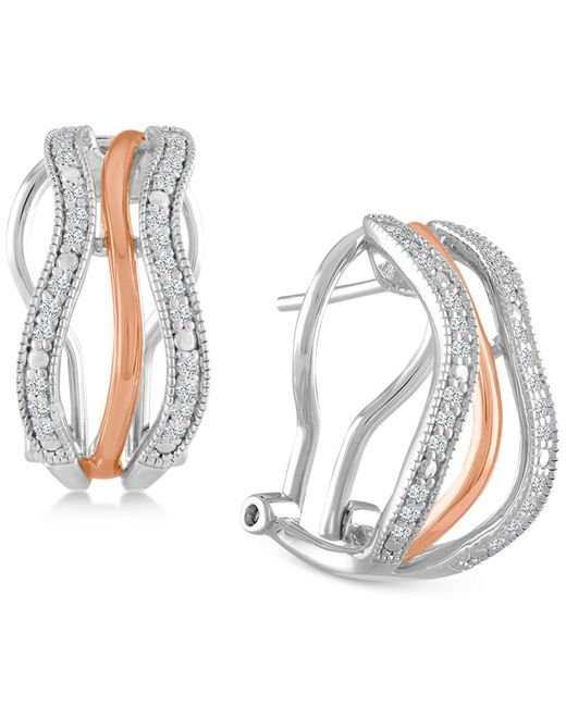 Macy's | Metallic Diamond Two-tone Hoop Earrings (1/4 Ct. T.w.) In Sterling Silver And 18k Rose Gold-plate | Lyst