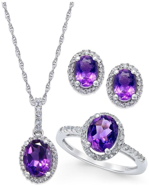 Macy's | Metallic Amethyst And White Topaz Earring, Ring, And Pendant Set In Sterling Silver (4-3/4 Ct. T.w.) | Lyst