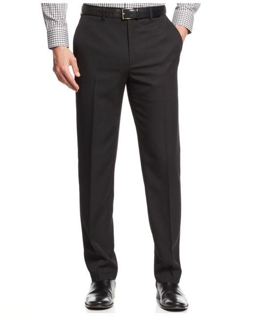 Alfani | Black Flat-front Slim Herringbone Pants for Men | Lyst
